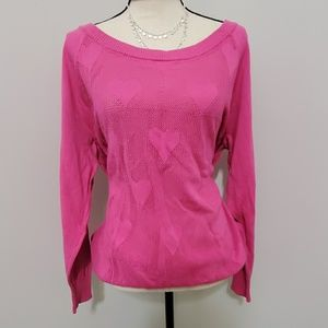 Torrid size 3 hot pink hearts sweater soft cozy